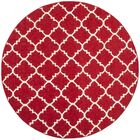 Dhurries Red/Ivory Area Rug Rug Size: Round 4'