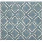 Dhurries Blue / Ivory Area Rug Rug Size: Square 6'