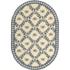 Kinchen Ivory/Blue Bumblebee Area Rug Rug Size: Oval 4'6