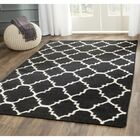 Dhurries Hand-Woven Wool Black/Ivory Area Rug Rug Size: Rectangle 4' x 6'