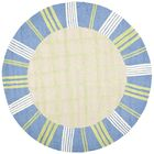 Claro Taupe & Blue Area Rug Rug Size: Round 6'