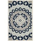 Bellagio Hand-Tufted Wool Blue/Ivory Area Rug Rug Size: Round 5'