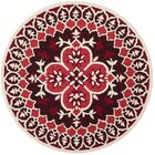 Bellagio Hand-Tufted Wool Red/Ivory Area Rug Rug Size: Round 5'