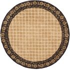 Caine Hand Tufted Ivory/Chocolate Bordered Area Rug Rug Size: Round 6'