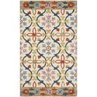 Talmo Hand Hooked Wool Ivory/Blue Area Rug Rug Size: Rectangle 5' x 8'
