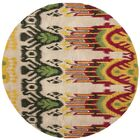 Ikat Beige Area Rug Rug Size: Round 6'