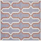 Dhurries Hand-Woven Wool Purple/Tan Area Rug Rug Size: Square 6'