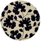 Alvan Hand-Tufted Beige/Black Area Rug Rug Size: Round 6'