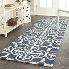 Byron Navy Blue /Ivory Tufted Wool Area Rug Rug Size: Runner 2'6