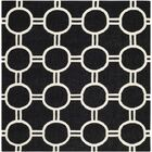 Dhurries Black/Ivory Area Rug Rug Size: Square 6'