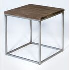 Side Cubic Vintage End Table Color: Brown/Gray