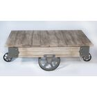 Vintage Center Coffee Table with Wheels