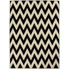Modern Chevron Hand-Woven Black/Beige Area Rug Rug Size: 8' x 11'