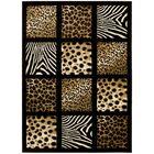 Animal Print Hand-Woven Black/Beige Area Rug Rug Size: 8' x 11'