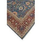 Longoria Chobi Knotted Wool Rectangle Blue Area Rug