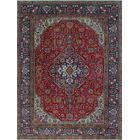Brookmont Vintage Distressed Hand Knotted Wool Red Area Rug