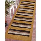 Ceniceros Striped Hand-Woven Wool Gold/Brown Area Rug Rug Size: Runner 2'6