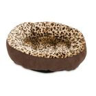 Round Animal Print Bolster Dog Bed