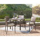 Bassham 5 Piece Dining Set with Cushions Finish: Brown, Fabric: Tan