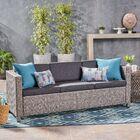 Are Outdoor Rattan Sofa Set with Cushions Finish: Mix Black, Fabric: Dark Grey