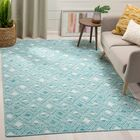 Dominica Hand-Woven Aqua/Ivory Area Rug Rug Size: Rectangle 5' x 8'