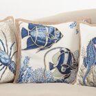 Aloisia Stitched Fish Down Filled Cotton Throw Pillow
