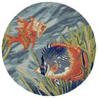 Clowers Tropical Hand-Tufted Blue Indoor/Outdoor Area Rug Rug Size: Round 8'
