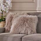 Kingstowne Shaggy Lamb Fur Throw Pillow Color: Light Gray, Size: 16