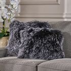Kingstowne Shaggy Lamb Fur Throw Pillow Color: Black Snow, Size: 16