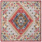 Ippolito Hand-Tufted Wool Gray/Red Area Rug Rug Size: Square 6'