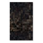 Aayush Four Square Patch Hand-Woven Cowhide Chocolate Solid Area Rug