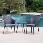 Brant 3 Piece Conversation Set with Cushions Fabric: Mixed Black