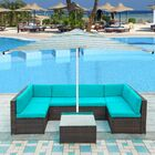 Cadell 7 Piece Rattan Sectional Seating Group with Cushions