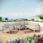 Coline 5 Piece Sectional Seating with Cushions Fabric: Beige