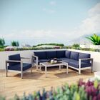 Coline 5 Piece Sectional Seating with Cushions Fabric: Navy