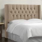 Aura Diamond Tufted Upholstered Wingback Headboard Size: Queen, Upholstery: Mystere Mondo