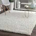 Welford White Shag Area Rug Rug Size: Oval 5'3