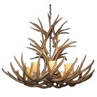 Attwood Antler Mule Deer Cascade 8-Light We have associated to option Chandelier Finish: Black/White, Shade Color: Rawhide, Shade Included: No