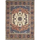 One-of-a-Kind Allbee Hand-Knotted Wool Peach/Blue Indoor Area Rug