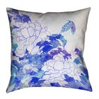 Raritan Watercolor Peonies and Butterfly Cotton Throw Pillow Size: 16