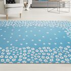 Carlos Wild Flower 100% Cotton Hand-Woven Blue Area Rug Rug Size: 5' x 8'
