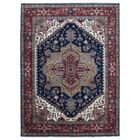 One-of-a-Kind  Roselle Traditional Oriental Hand Woven Rectangle Blue Area Rug