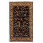 Moghul Hand-Knotted Wool Black/Gold Area Rug Rug Size: Rectangle 6' x 9'