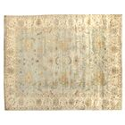 Oushak Hand-Knotted Wool Ivory/Blue Area Rug Rug Size: Rectangle 6' x 9'