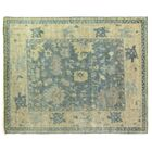 Oushak Hand-Knotted Wool Blue/Ivory Area Rug Rug Size: 14' x 18'