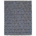 Natural Hide Leather Hand-Woven Navy/White Area Rug Rug Size: Rectangle 9'6