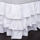 Double Ruffled 200 Thread Count Bed Skirt Size: Twin, Color: White