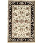 One-of-a-Kind Afghan Gabbeh Hand-Knotted Wool Ivory/Navy Area Rug
