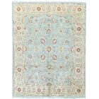 One-of-a-Kind Hand-Knotted Wool Teal/Ivory Area Rug
