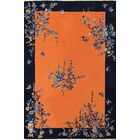 One-of-a-Kind Chinese Handwoven Wool Orange/Blue Indoor Area Rug
